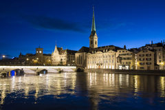 River Limmat Zurich at night Royalty Free Stock Images