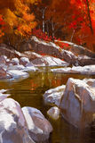 River lines with stones in autumn forest. Illustration painting Royalty Free Stock Photography