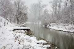 River Little Danube in snow fall Stock Photos