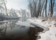 River Little Danube after snow fall Royalty Free Stock Image