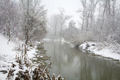 River Little Danube in winter Stock Photos