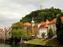 River in Ljubljana. Beautiful view of the river in Ljubljana old town Stock Photo