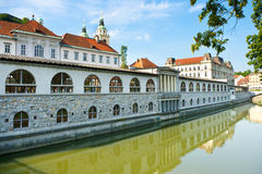 River in Ljubljana from Dragon Bridge Stock Photography