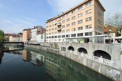 River in Ljubljana from Dragon Bridge, Slovenia Stock Photo