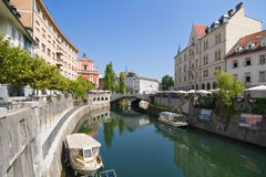 River Ljubljanica through Ljubljana Stock Photography