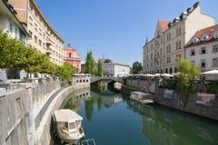 River Ljubljanica Through Ljubljana Stock Photography