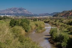 Martorell. The river Llobregat to his step along Martorell, region of the Baix Llobregat, Barcelona, Catalonia, Spain Stock Photos
