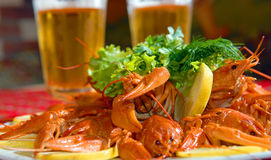 River lobsters against beer Stock Photo