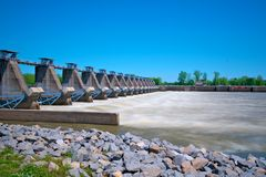 River Lock and Dam. Arkansas River Lock and dam controlling river flow Stock Photography