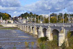 River Loire at Tours in France. River Loire and bridge of Wilson at Tours, city in central France, the capital of the Indre-et-Loire department, Centre region Royalty Free Stock Images