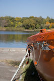 River. Lonely boat in the quiet river Stock Image