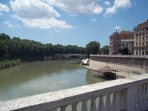 River. Looking down at a river from a bridge in Italy Royalty Free Stock Image