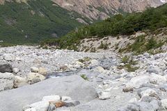 River at the Los Glaciares National Park, Argentina. Rio Blanco, White River, along the trail to Cerro Fitz Roy at the Los Glaciares National Park, Argentina Stock Photography