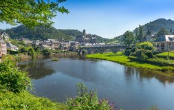 River Lot at Estaing Village. Aveyron, Central France royalty free stock photography
