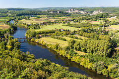 River Lot. The Lot River with a view of Rocamadour in the distance Stock Photography