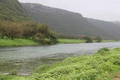 River between Lush green landscape, trees and foggy mountains in Raysut  tourist resort, Salalah, Oman. Stunning Lush green landscape, trees and foggy mountains stock images
