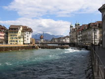 River in Luzern. River crossing the town of luzern in Switzerland Stock Photo