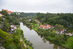 River Luznice and town Bechyne. Small river Luznice and the town Bechyne in the Czech republic Stock Image