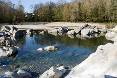 River Maggia at Ponte Brolla Royalty Free Stock Photography