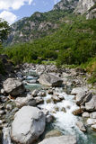 River Maggia in the valley of the same name. On the Swiss alps royalty free stock photos