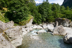 River Maggia in the valley of the same name Stock Images