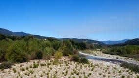 The River Magra near Aulla,north Tuscany, Italy. Sunny summer da Royalty Free Stock Images