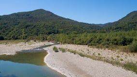 The River Magra near Aulla,north Tuscany, Italy. Sunny summer da Stock Images