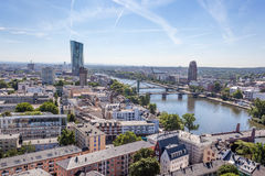 River Main and city of Frankfurt, Germany Stock Images
