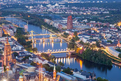River Main in the city of Frankfurt at night Royalty Free Stock Image