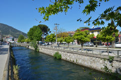 River and the main street of Fethiye, Turkey Royalty Free Stock Images