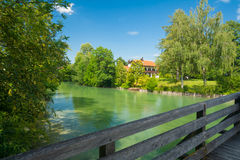River Mangfall near Gmund at the Tegernsee Royalty Free Stock Images