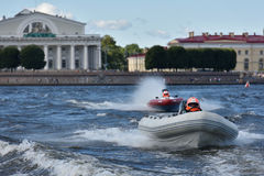 River marathon Oreshek Fortress race in St. Petersburg, Russia Stock Images