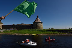 River marathon Oreshek Fortress race in St. Petersburg, Russia Royalty Free Stock Photos