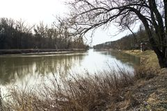 The river March in Lower Austria on the boarder to Slovakia. Wide angle lens against light stock photo