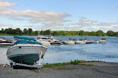 River marina. A marina on the St. Lawrence River in spring Stock Photo