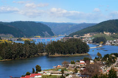 River Maule, Chile. Maule river near its mouth in the sea off the city of Constitucion. Maule region. Chile stock photos