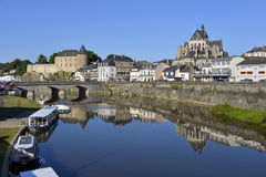 River at Mayenne in France Stock Images