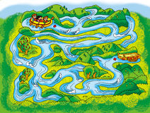 River maze. Maze:the children across the river by rafts Stock Photography