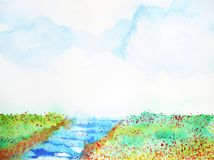 River and meadow flower field landscape watercolor painting. Illustration Stock Images