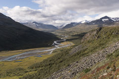 River meandering with daylight through Rapadalen valley Sarek, Sweden. Climbing the Laddebakte rewarding me with this awesome view of Rapadalen, Sarek stock images