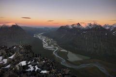 River meandering through Rapadalen valley Sarek, Sweden Royalty Free Stock Image