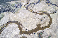 River meanders aerial view. Illinois River meanders through Arapaho National Wildlife Refuge, North Park near Walden, Colorado, early spring aerial view Royalty Free Stock Image