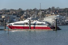 Fastcat passenger ferry berthed, River medina, Isle of Wight, UK royalty free stock photography