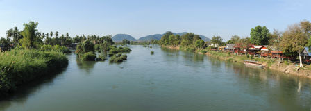 River Mekong between Don Det and Don Khon islands. On Laos royalty free stock photo