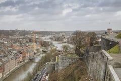 Cityscape of Namur view from the Historic Citadel of Namur, Wallonia region, Belgium Royalty Free Stock Photos