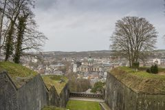 Cityscape of Namur view from the Historic Citadel of Namur, Wallonia region, Belgium Royalty Free Stock Photography