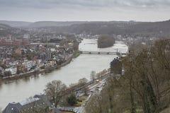 Cityscape of Namur view from the Historic Citadel of Namur, Wallonia region, Belgium Stock Photos
