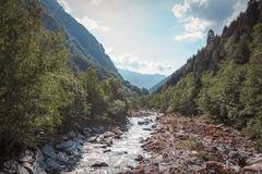 River in the middle of a valley surrounded by trees stock photos