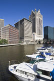River in Milwaukee. River in downtown Milwaukee, Wisconsin Stock Image