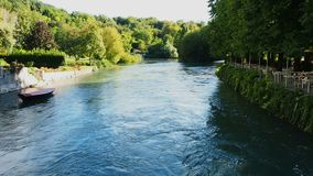 River Mincio Italy flowing. Sunny day stock video footage